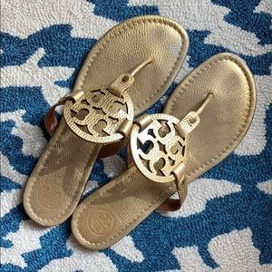 Tory Burch Miller Leather Sandal Gold size 11